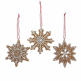 Gisela Graham Resin Gingerbread Snowflake Decs