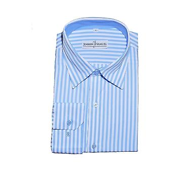 JSS Striped Blue & White Regular Fit 100% Cotton Shirt