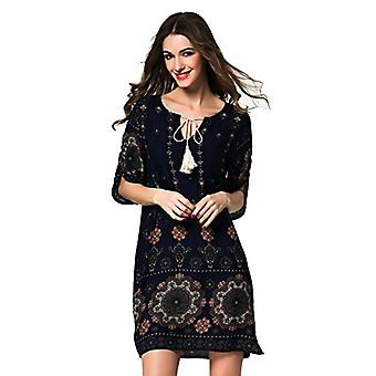 ARANEE Women's Boho Neck Tie Vintage Print Shift Dress, 01-navy Blue, Size Large