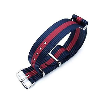 Strapcode n.a.t.o watch strap miltat 20mm g10 nato bullet tail watch strap, ballistic nylon, blue & red, polished