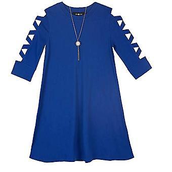 Amy Byer Girls' Big Lattice Sleeve Knit Dress with, Cobalt Blue, Size Medium