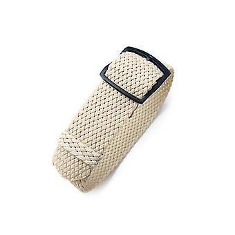 Strapcode fabric watch strap 20mm, 22mm miltat perlon watch strap, beige, pvd brushed black ladder lock slider buckle