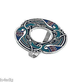 Celtic Birds Blue Tone Enamel Scarf Ring Gift Boxed