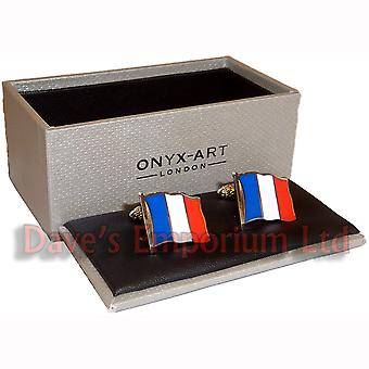 French Flag Cufflinks by Onyx Art - Gift Boxed - France Tricolor Cuff Links