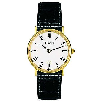 Michel Herbelin Naisten & Apos;s Musta nahkahihna   Valkoinen dial   Gold Asia 16845/P01 Watch