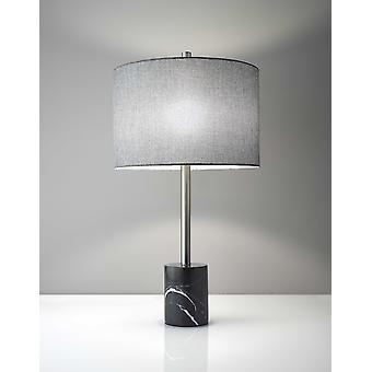 Lámpara de mesa de mármol negro barbell cepillado de acero