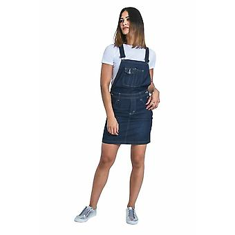 Abito short denim dungaree - darkwash con cinturini bretelle
