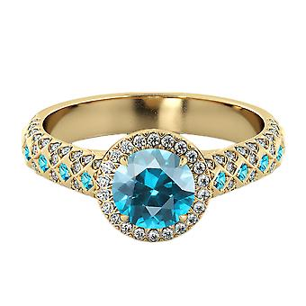 14K Yellow Gold 2.50 ctw Aquamarine Ring with Diamonds Vintage Micro Pave Halo