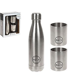 B&Co 500ml Insulated Bottle and 2 x SS Beakers Gift Box