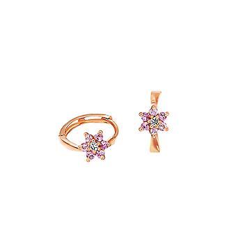 Cercei pentru copii Diamante Flower Hoops 18K Aur