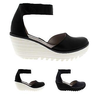 Naisten lentää Lontoon Yand nahka Strappy kiila kantapää Kesä Sandaalit kengät