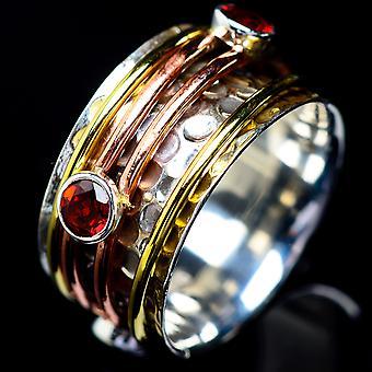 Garnet Copper Ring Size 8.75 (925 Sterling Silver)  - Handmade Boho Vintage Jewelry RING5396
