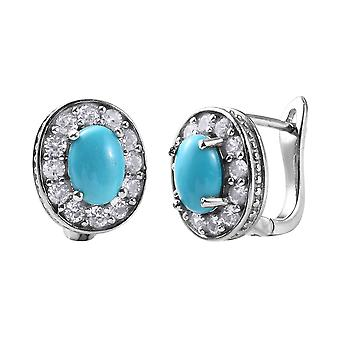 TJC Stud Sleeping Beauty Turquoise and Zircon Earrings Platinum Plated Silver