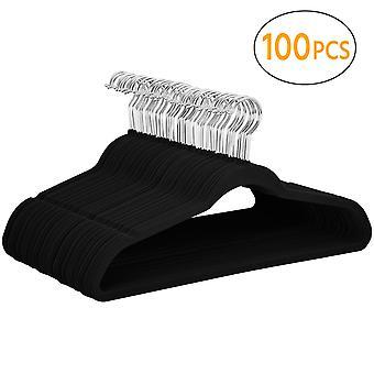 100 Pack de terciopelo perchas, antideslizante flocked traje abrigo pantalones pantalón colgantes 360 grados giratorio gancho negro