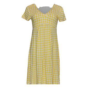 K Jordan Dress Pleated Gingham Printed Short Sleeve Yellow / White