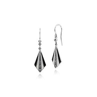 Art Deco Style Round Marcasite Black & White Enamel Fan Drop Earring in 925 Sterling Silver 214E841102925