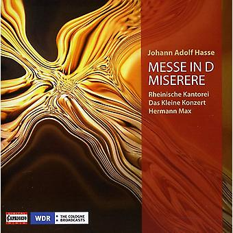 J.a. Hasse - Johann Adolf Hasse: Messe in D; Miserere [CD] USA import