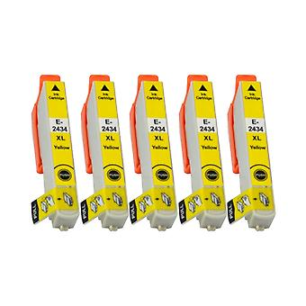 RudyTwos 5x Replacement for Epson Elephant Ink Unit Yellow Compatible with Expression Photo XP-55, XP-750, XP-760, XP-850, XP-860, XP-950