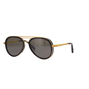 Cutler and Gross 1323 04 Gold-Black/Polarised Dark Grey Sunglasses