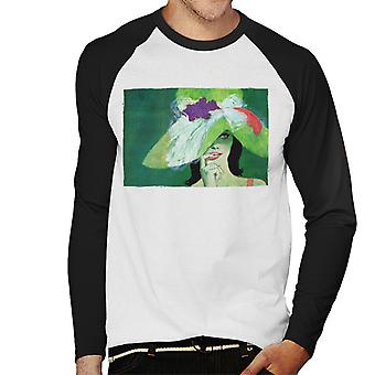 The Saturday Evening Post Lady In Green Coby Whitmore Men''s Baseball Long Sleeved T-Shirt