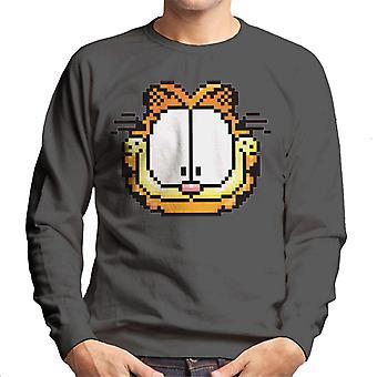 Garfield pixelated gelukkig gezicht mannen ' s Sweatshirt