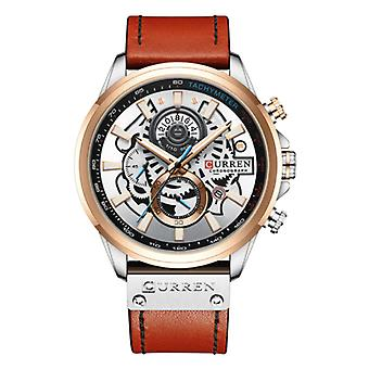 Curren Anologian Watch - Leather Strap Luxury Quartz Movement for Men - Stainless Steel - Orange-Silver