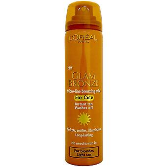 2 X L&Oreal Glam Bronze Bronzing Mist for Face Instant Tan (Blondynki, Light Tan) 75ml