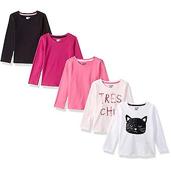 Brand - Spotted Zebra Girls' Little Kid 5-Pack Long-Sleeve T-Shirts, P...
