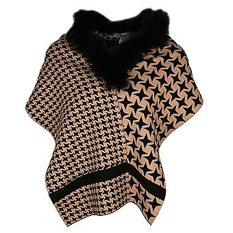 Passioni Black & Beige Dogtooth Design Scarf With Faux Fur Trim