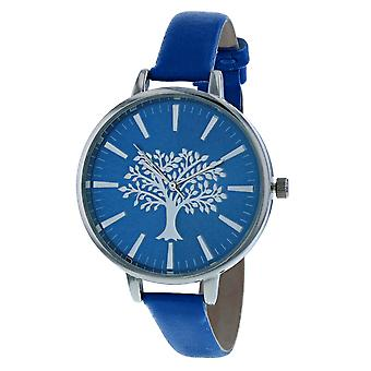 Thomas Calvi Ladies Analogue Blue Dial With Silvertone Tree Of Life Design Thin Blue PU Strap Watch Buckle Closure TCW252B