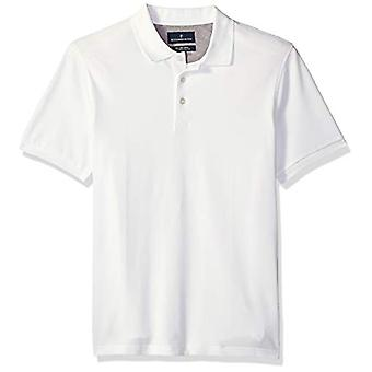 BUTTONED DOWN Men's Slim-Fit Supima Cotton Stretch Pique Polo Shirt, Wit, X-Small