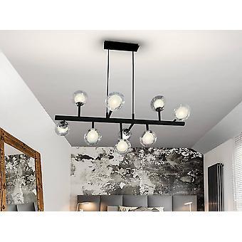 9 Licht Dimbare Crystal Multi Arm plafond hanger met afstandsbediening Mat zwart, chroom, G9