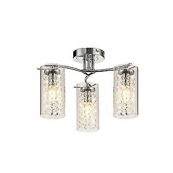 Éclairage Luminosa - Lumière de plafond semi-flush, 3 x E14, Chrome poli, Cristal, Verre