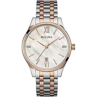 Bulova 98s150 Diamond Mother Of Pearl & Two Tone Stainless Steel Ladies Watch