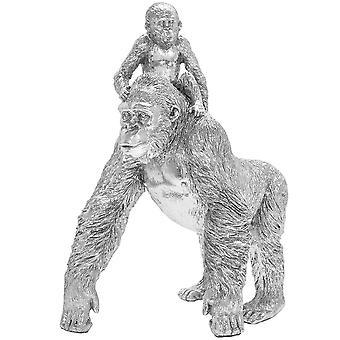 Silver Art Gorilla and Baby Statue Sparkly Diamante Ornament Figure