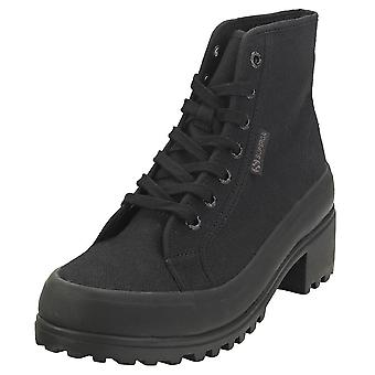 Superga 2448 Cotw Alpina Heeled Mid Womens Platform Boots in Black