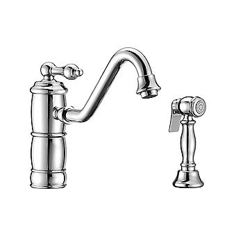 Vintage Iii Plus Single Lever Faucet With Traditional Swivel Spout And Solid Brass Side Spray - Polished Chrome