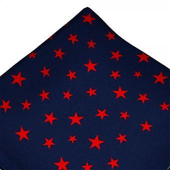 Ties Planet Antonio Boselli Navy Blue & Red Star mintás pocket square zsebkendő