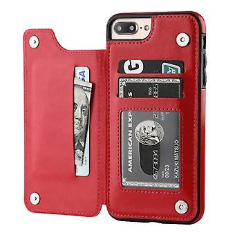 الاشياء المعتمدة® ريترو اي فون 7 زائد الجلود الوجه محفظة حالة - محفظة غطاء غلاف القضية الأحمر