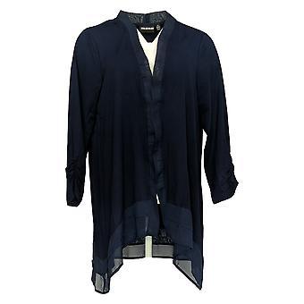 Nina Leonard Women's Plus Sweater Chiffon Hem Cardigan Blue 644-651