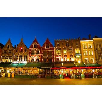 Cafes in Marketplace in Downtown Bruges Belgium Poster Print by Bill Bachmann