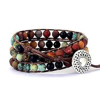 Vintage Leather Bracelets, Matte Stone Wrap, Woven Multilayer Boho Bracelet,