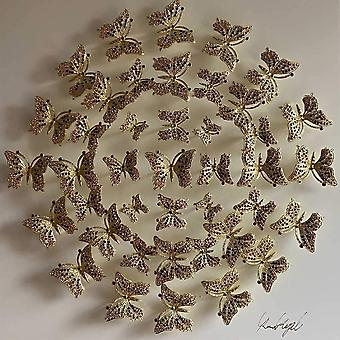 Cercle des papillons Mur Art Blanc