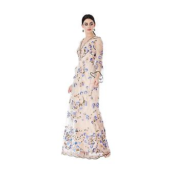 Embroidered tulle maxi dress with flared sleeves