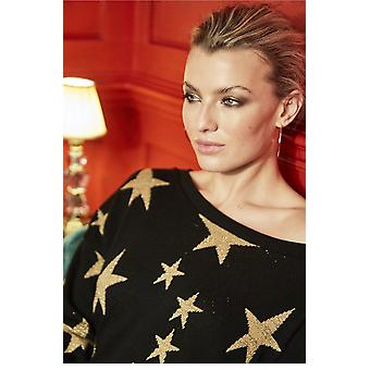 A Postcard from Brighton Black & Gold Starry Knit Jumper