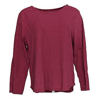 Carole Hochman Women's Petite Top Long Sleeve Scoop Neck Pink A381868