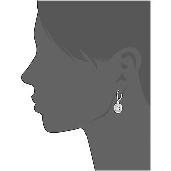 Sterling Silver Cubic Zirconia Halo Set Lever-Back Drop, Silver, Size No Size