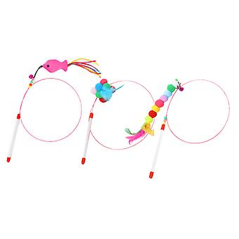 Retractable Cat Feather Toy Set, 3 Pcs, Interactive Cat Toys Wand