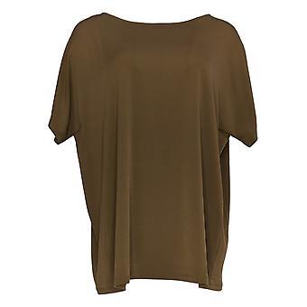 Susan Graver Women's Top Short Sleeve Knit Bateau Neck Brown A383188