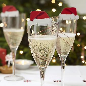 Ginger ray divertido decoração de vidro de natal / cartão chapéus de papai noel - decorações de mesa x 10 - ótimo para um